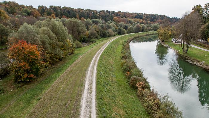 Pullach im Isartal Blick von der Grünwalder Isarbrücke: Isartal, Isarwehrkanal