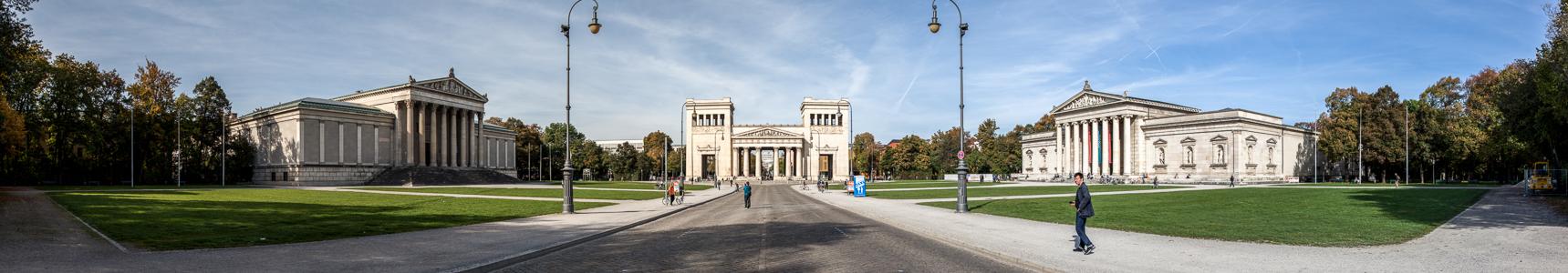 München Maxvorstadt - Königsplatz (v.l.): Staatliche Antikensammlungen, Propyläen und Glyptothek