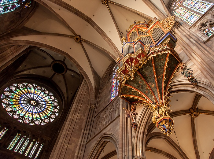 Straßburger Münster (Cathédrale Notre-Dame de Strasbourg): Rosette an der Westfront und Langhausorgel