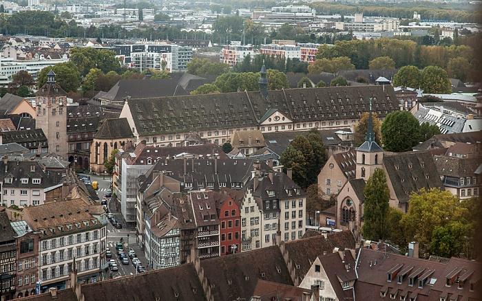 Blick von der Turmplattform des Straßburger Münsters (Cathédrale Notre-Dame de Strasbourg): Hôpital civil Église Saint-Nicolas Quartier du Finkwiller