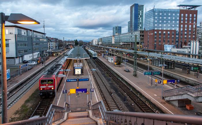Freiburg Blick von der Stühlingerbrücke: Hauptbahnhof