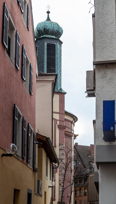 Freiburg Altstadt: Brunnenstraße, Universitätskirche