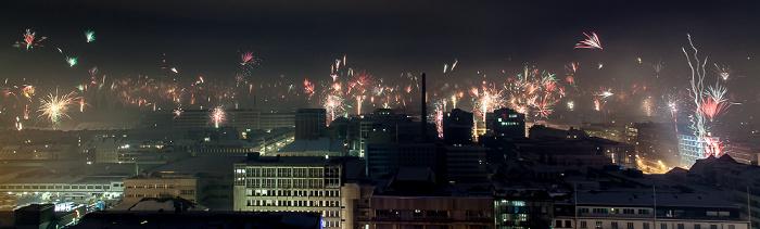 München Blick vom BR-Funkhaus: Silvester-/Neujahr-Feuerwerk Maxvorstadt