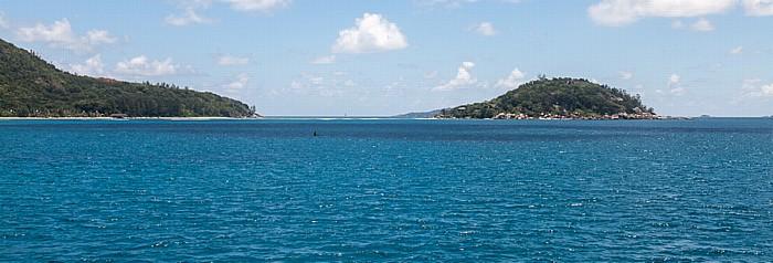 Fähre Victoria (Mahé) - Baie Sainte Anne (Praslin): Baie Sainte Anne und die Île Ronde