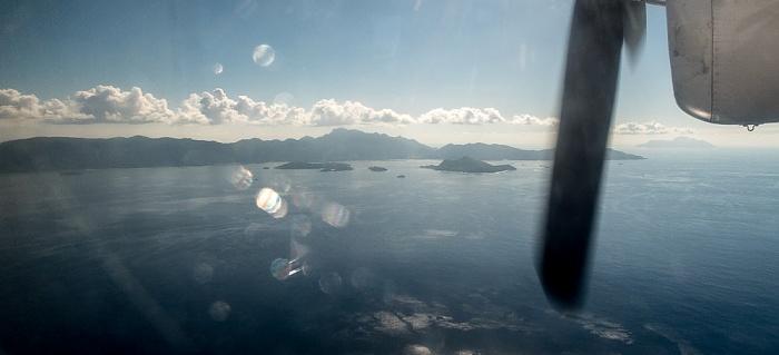 Indischer Ozean Mahé und Ste Anne Marine National Park Silhouette Luftbild aerial photo
