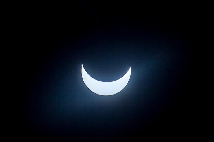 München (Partielle) Sonnenfinsternis 2015 (10:38 Uhr): Sonne und Mond - Kurz vor der maximalen Bedeckung