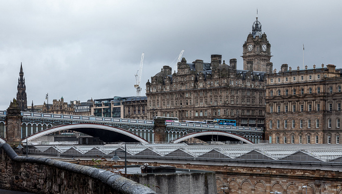New Town: Edinburgh Waverley Railway Station, North Bridge Main Post Office Scott Monument The Balmoral