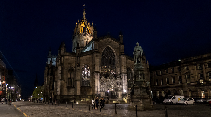 Edinburgh Old Town: High Street (Royal Mile) Parliament House Parliament Square St Giles' Cathedral Walter Francis Montagu Douglas Scott Statue