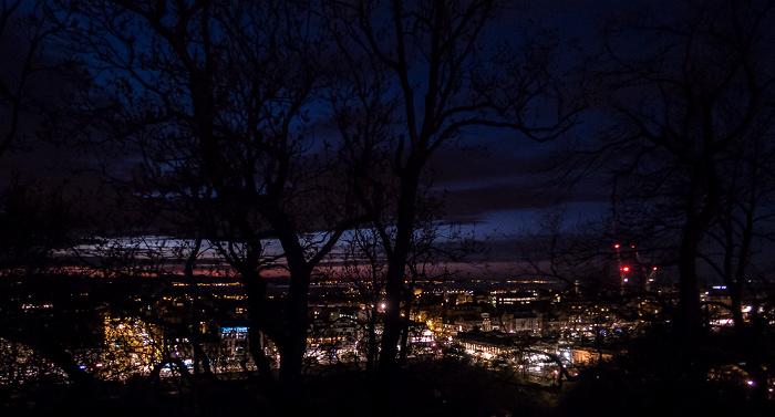Edinburgh Blick von der Castle Esplanade (Old Town): Princes Street Gardens, Princes Street, New Town