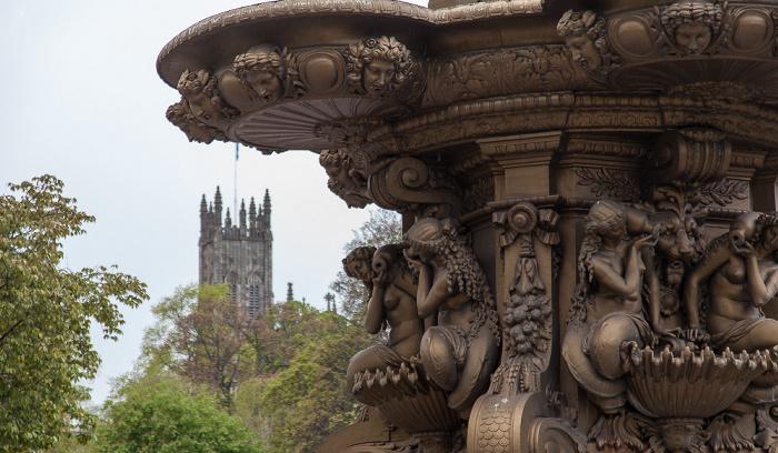 Edinburgh New Town: Princes Street Gardens - Ross Fountain Church of St John the Evangelist