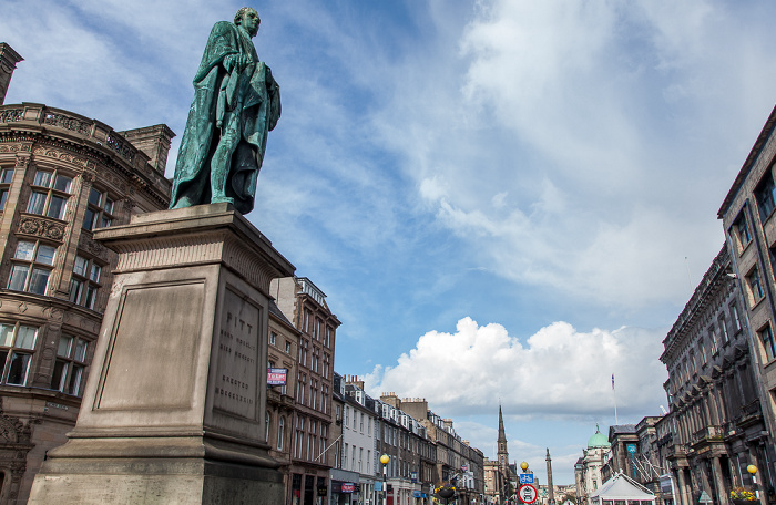 Edinburgh New Town: George Street - William Pitt Statue Melville Monument St Andrew's and St George's West Church
