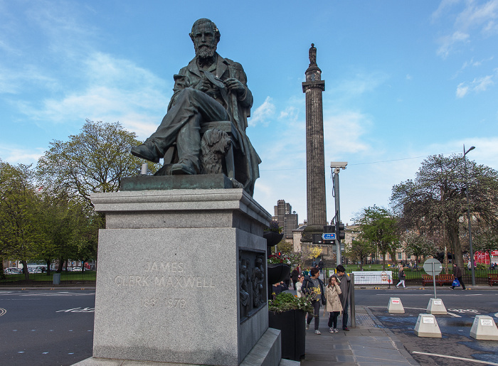 Edinburgh New Town: George Street - Statue of James Clerk Maxwell Melville Monument St Andrew Square
