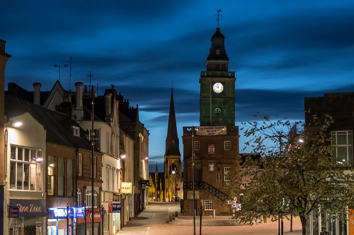 Dumfries High Street: Midsteeple (ehem. Rathaus) Greyfriars Church