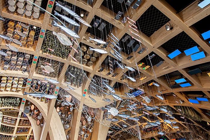 Mailand EXPO Milano 2015: Französischer Pavillon - Fische und Fischernetz Französischer Pavillon EXPO 2015