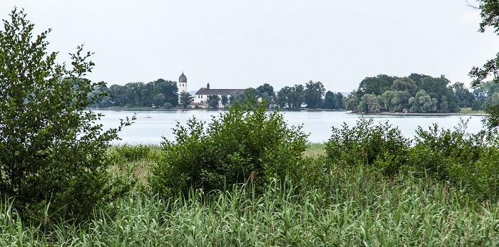 Chiemsee Fraueninsel (Frauenchiemsee) mit Kloster Frauenwörth Herreninsel