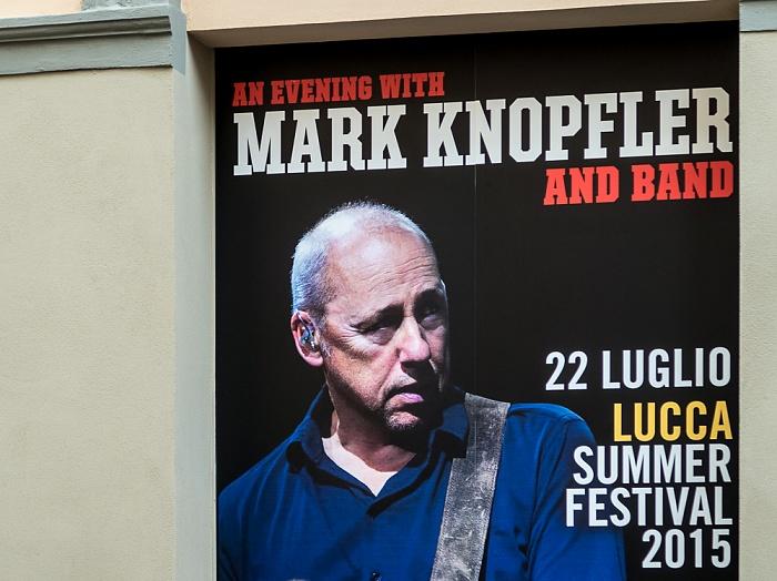 Lucca Centro Storico: Plakat für das Mark-Knopfler-Konzert