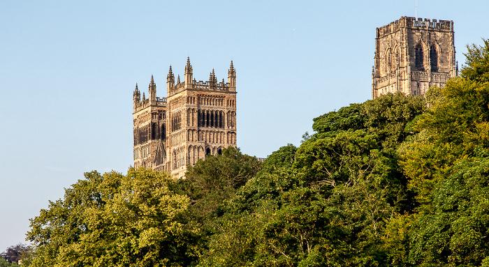 Blick von der Prebends Bridge: Durham Peninsula mit Durham Cathedral