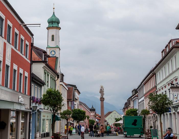 Murnau Obermarkt / Untermarkt: Mariensäule Katholische Filialkirche Maria Hilf