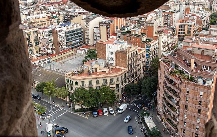 Blick von der Sagrada Família: Carrer de la Marina Barcelona
