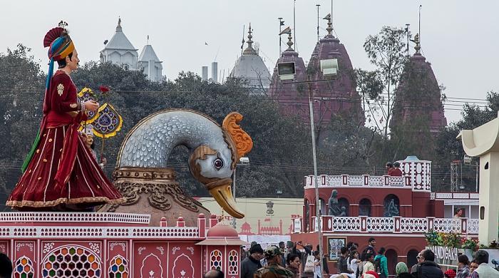 Old Delhi: Hayat Bakhsh Bagh (Red Fort Garden) - Umzugswagen zum Delhi Republic Day Parade Gauri Shankar Mandir Sri Digambar Jain Lal Mandir