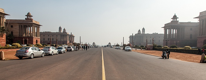 New Delhi: Rajpath - Secretariat Building (North Block (links) und South Block)