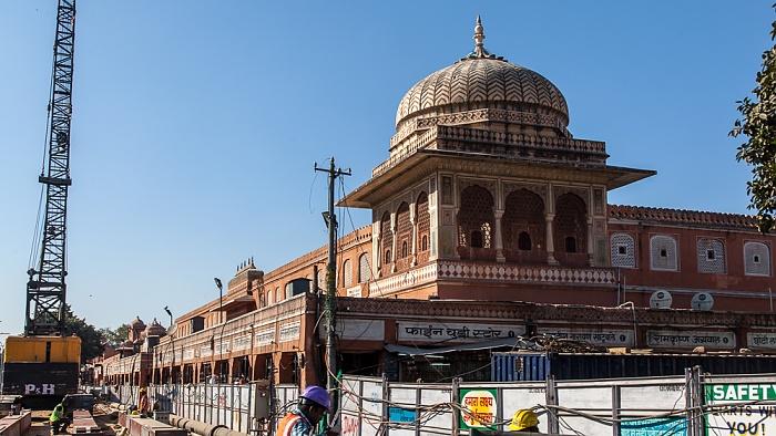 Jaipur Pink City: Badi Chaupar (Manak Chowk), Baustelle der Metro Station Badi Chaupar