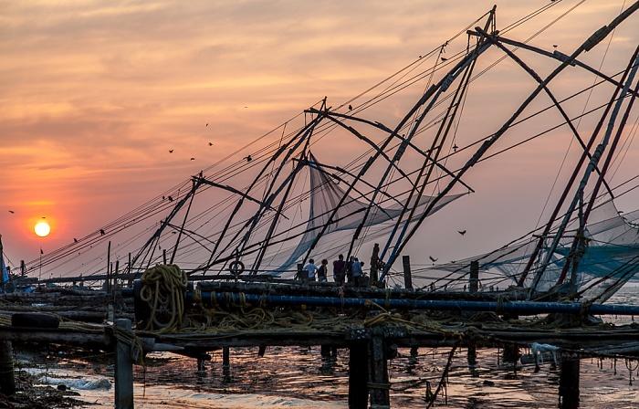 Fort Kochi: Chinesische Fischernetze, Vembanad Lake