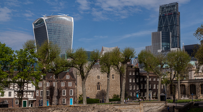 Blick vom Tower of London (v.l.): 20 Fenchurch Street, Willis Building und Leadenhall Building (122 Leadenhall Street)
