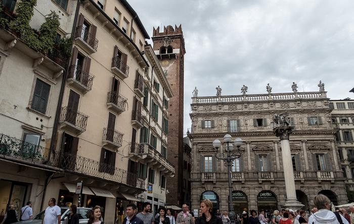 Centro Storico (Altstadt): Piazza delle Erbe - Torre dei Lamberti, Palazzo Maffei und Colonna di San Marco Verona
