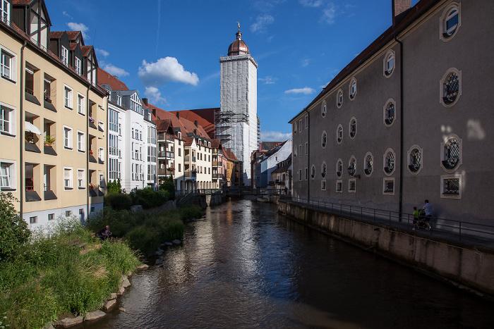 Amberg Altstadt: Blick vom Lederersteg - Vils Basilika St. Martin