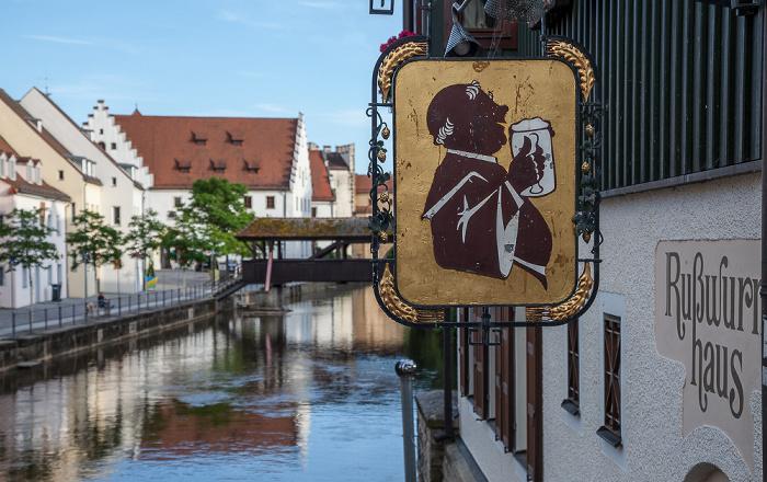 Amberg Altstadt: Blick vom Martinssteg - Rußwurmhaus Schiffbrücke Vils