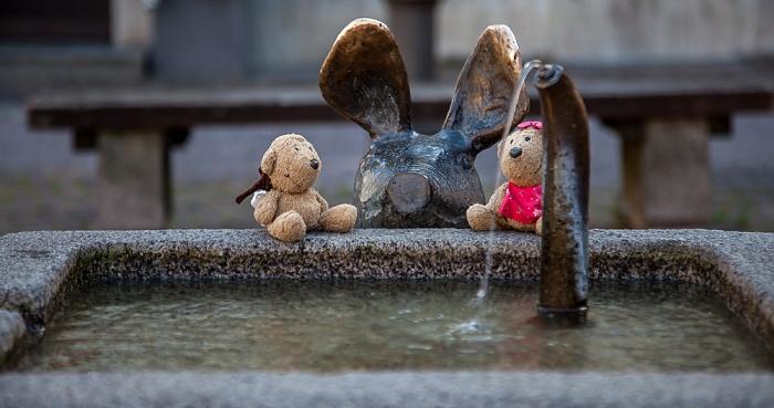 Amberg Altstadt: Viehmarkt - Schweindl-Brunnen (von Manfred Raumberger): Teddy und Teddine