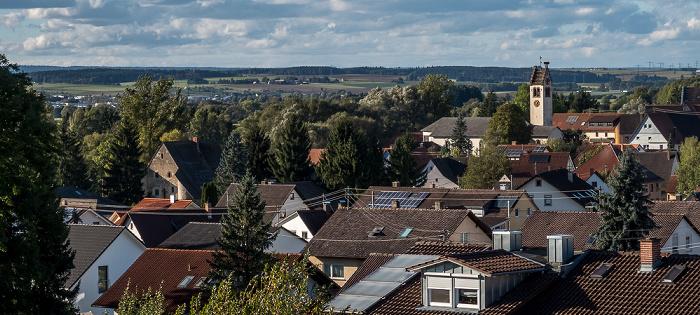 Pfohren Blick vom Kopen: Entenburg (links) und Kirche St. Johannes der Täufer