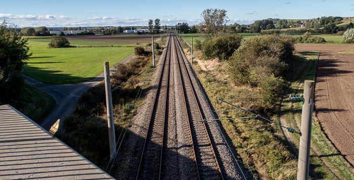 Blick von der Donaubrücke Bundesstraße B 31/33: Eisenbahnstrecke Immendingen - Donaueschingen Donaueschingen 2016