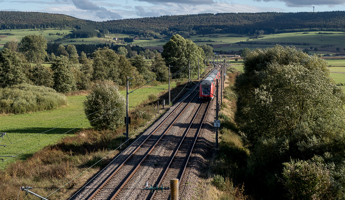 Pfohren Blick von der Donaubrücke Bundesstraße B 31/33: Eisenbahnstrecke Donaueschingen - Immendingen