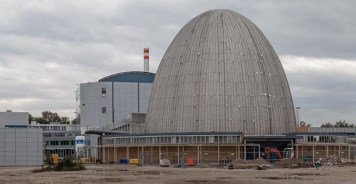 Garching Forschungszentrum: Forschungs-Neutronenquelle Heinz Maier-Leibnitz FRM I (Atomei) und FRM II (im Hintergrund)