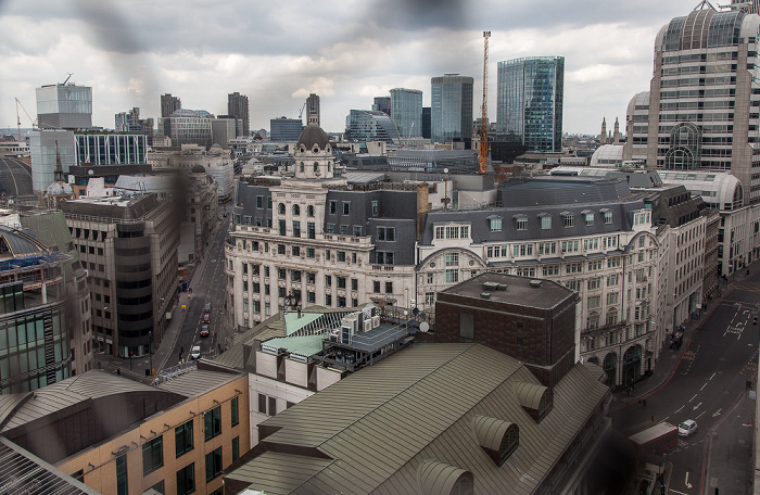 Blick von der Aussichtsplattform des Monument: City of London 20 Gracechurch Street Gracechurch Street House of Fraser (City) King William Street