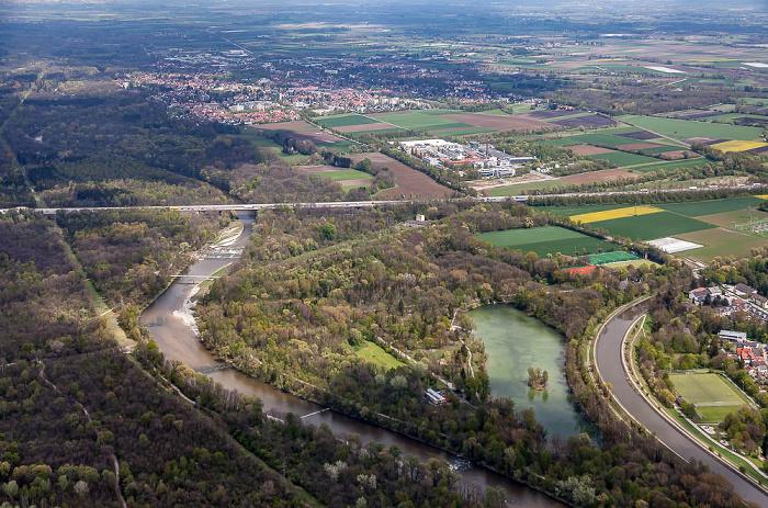 Luftbild aus Zeppelin: Isar, Isarauen und Poschinger Weiher (Unterföhringer See) München 2017
