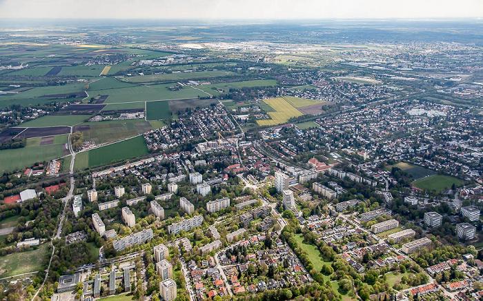 Luftbild aus Zeppelin: Bogenhausen - Englschalking / Daglfing (oben) München