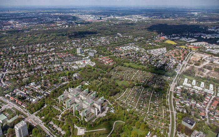 Luftbild aus Zeppelin: Bogenhausen - Herzogpark / Englschalking (rechts unten) / Oberföhring (rechts oben) München