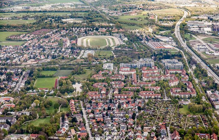 Luftbild aus Zeppelin: Bogenhausen mit Zamdorf (unten) und Daglfing (oben) München