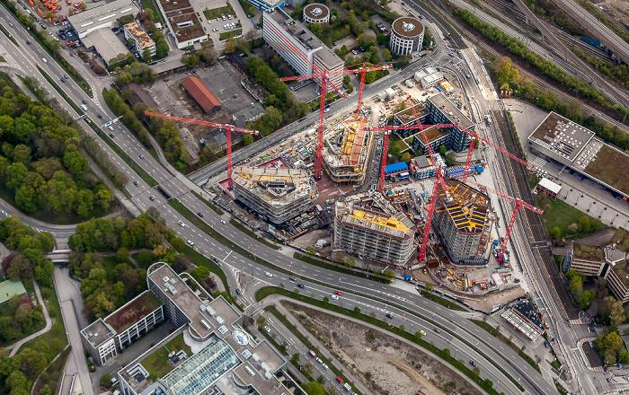 Luftbild aus Zeppelin: Bogenhausen (Steinhausen) mit der Baustelle der Bavaria Towers (Bogenhausener Tor) München