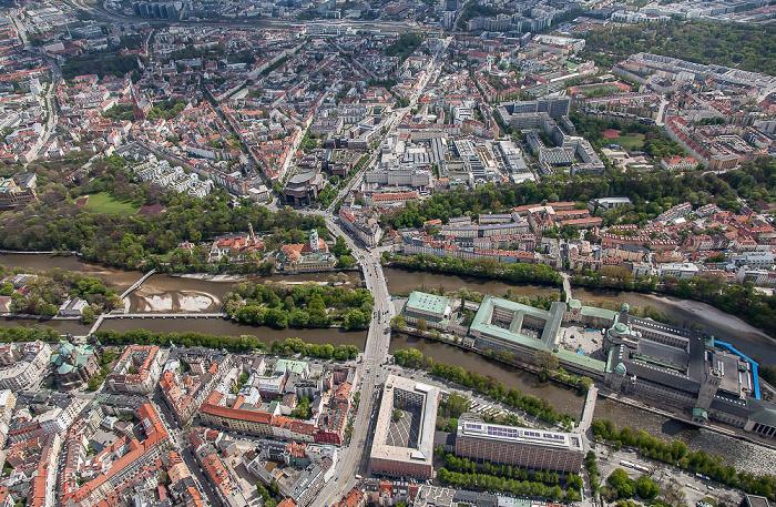 Luftbild aus Zeppelin: Au-Haidhausen (oben), Altstadt-Lehel (links unten), Ludwigsvorstadt-Isarvorstadt (rechts unten) München 2017