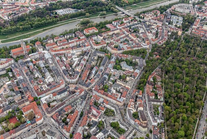 Luftbild aus Zeppelin: Ludwigsvorstadt-Isarvorstadt - Glockenbachviertel und Isar München 2017