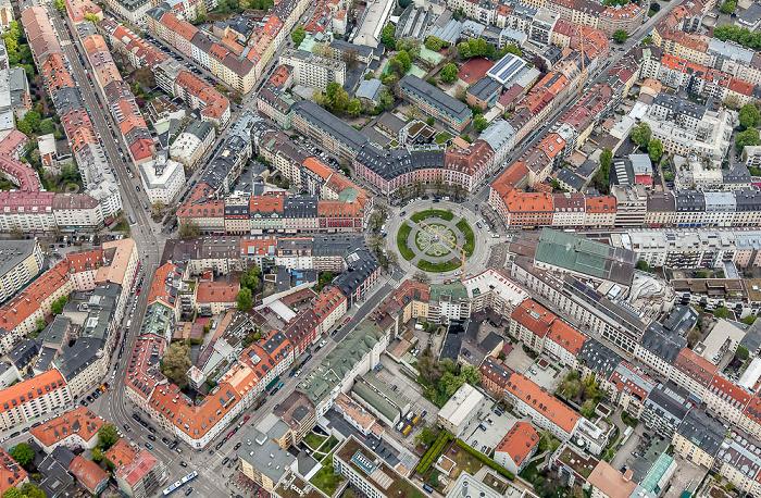 Luftbild aus Zeppelin: Ludwigsvorstadt-Isarvorstadt - Gärtnerplatzviertel München 2017