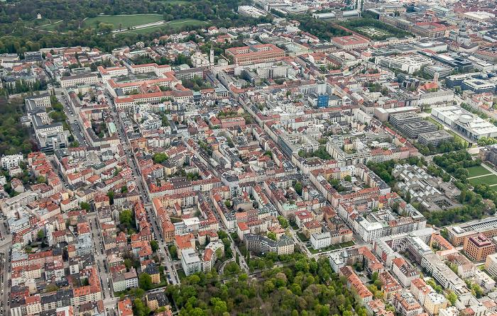 Luftbild aus Zeppelin: Maxvorstadt, Altstadt-Lehel (oben) München 2017