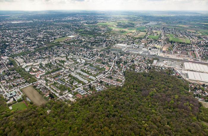 Lufbild aus Zeppelin: Pasing-Obermenzing (links oben), Allach-Untermenzing München 2017