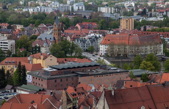Landshut Blick von der Burg Trausnitz Christuskirche Luitpoldbrücke