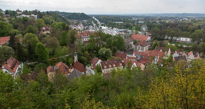 Landshut Blick von der Burg Trausnitz Festplatz Grieserwiese Isar Ringelstecherwiese Theklakapelle
