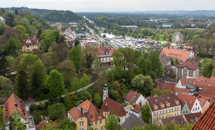 Landshut Blick von der Burg Trausnitz: Festplatz Grieserwiese Isar Theklakapelle